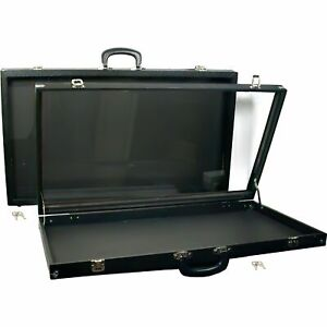 2 Black Glass Top Travel Jewelry Display Carrying Case 30 X 17 1 2