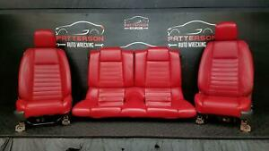 2005 Ford Mustang Front Power Bucket Rear Leather Seats Charcoal Red Trim Kr