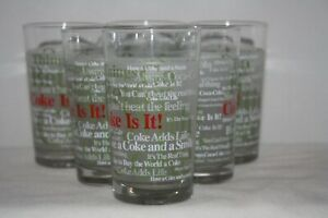 Set of 6 Coca Cola Vintage Glasses ACL w/ 1963 Things Go Better with Coke Slogan