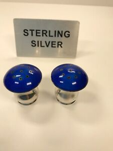Denmark Sterling Silver Guilloche Blue Enamel Mushroom Salt And Pepper Shaker