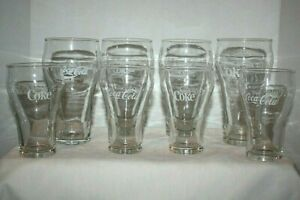Set of 8 Coca Cola Clear Contour Vintage Glasses, White Logo ACL 4 Large 4 Small
