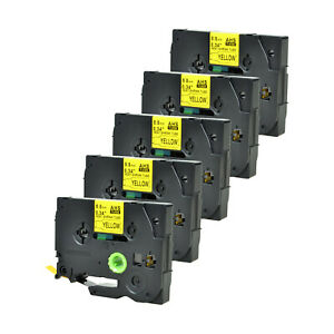 5pk Heat Shrink Cartridge Label Black On Yellow Hse621 For Brother P touch 3 8