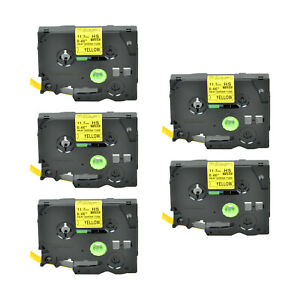5pk Heat Shrink Cartridge Label Black On Yellow Hse631 For Brother P touch 1 2