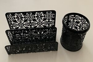 Desk Organizer Set Of 2 Letter Sorter And Pencil Cup Black Metal Floral