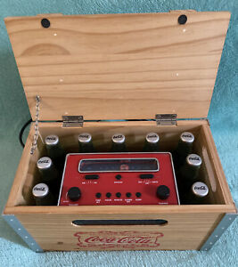 Coca Cola Wood Crate Alarm Clock Radio AM/FM With Digital Time Display