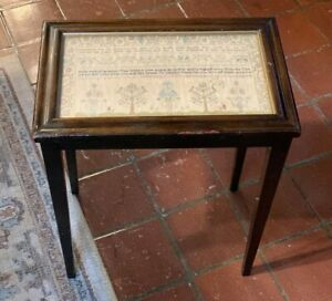 Unusual Antique Early 19th Century Sampler Framed Table