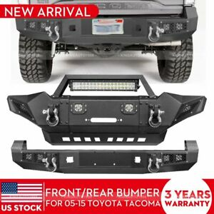 Steel Front Rear Bumper Guard W Led Lights D rings For 05 15 Toyota Tacoma