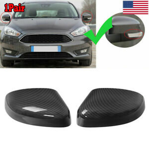2x Carbon Fiber Printed Side Rear View Mirror Covers For Ford Focus 2012 2018