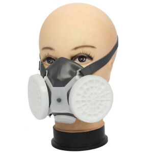 1pcs Half Face Respirator Gas Mask Double Filter Chemical Protector Mouth Cover