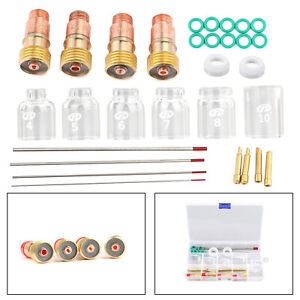 30pcs Tig Welding Stubby Gas Lens Pyrex Cup Kit Fits For Tig Wp 17 18 26 Torch