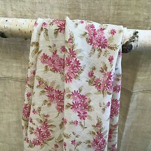 Lovely Antique Vintage Pink Floral Printed French Cotton Fabric 1900
