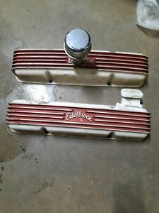 Vintage Cast Edelbrock Valve Covers W Stelling Breather Chevy Sbc Gasser 327