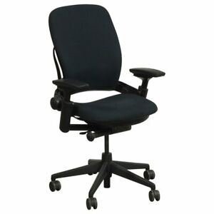 Executive Office Chair Steelcase Leap V2 Office Chair Fully Loaded Black Fabric