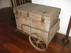 Vintage Trunk With Trolley Marked Ziiegfield Follies On Top