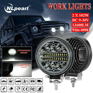 2pc 4 inch 102w Led Work Light Bar 4wd Off Road Boat Spot Flood Driving Fog Lamp