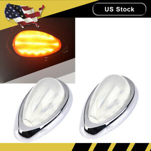 2x Side Marker Turn Light 15 Amber Led Clear For Freightliner Century Columbia