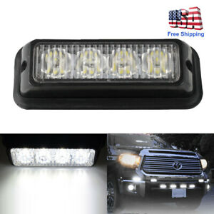 4 Led Strobe Light Pods White Reverse Backup Front Rear Bumper 12v Truck Lamp Us