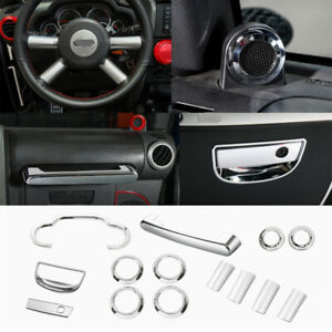14pcs Central Dashboard Decoration Cover Kit For Jeep Wrangler 2007 2010 Chrome