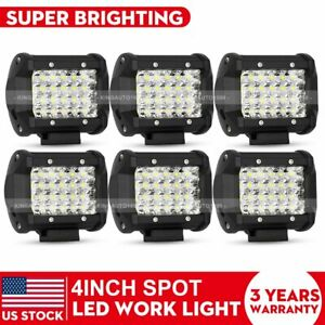 6x 4 Pods Led Work Light Spot Lights For Truck Off Road Tractor 12v 24v Square