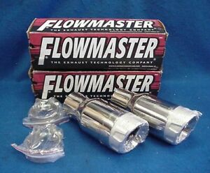 Pair Of New Flowmaster 15312 Stainless Steel Exhaust Tips 3 5 X 2 5 X 8 5 Long