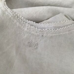 Antique Vintage French Linen Night Dressing Gown Peasant Smock Shirt Dress Ag
