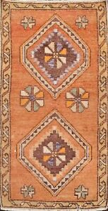 Geometric Semi Antique Authentic Oushak Turkish Hand Knotted Area Rug 2x3 Carpet