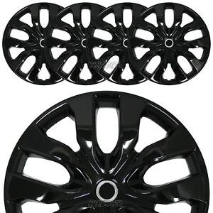 15 Set Of 4 Gloss Black Wheel Covers Snap On Hub Caps Fit R15 Tire