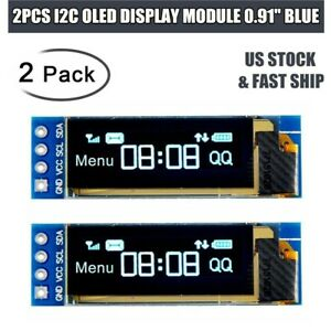 2pcs 0 91 Iic I2c Oled Lcd Display Module Screen Dc 3 3v 5v For Pic Arduino Us