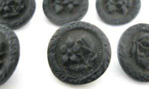 Vintage Antique Lot Of 8 Matching Black Glass Flower Buttons 1 2