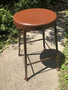 Vintage Industrial Metal Drafting Factory Stool