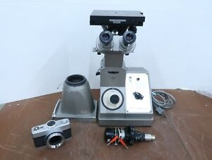 Vintage Olympus Mg Metallurgical Inverted Binocular Microscope Extras