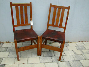 Superb Antique Pair G Stickley Chairs With Orig Leather W5409