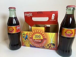 2002 Coca-Cola 100th Anniversary Bottling Company of CA 2- 8oz Bottles & Carrier
