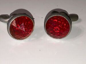 2 Vintage Red Glass Jewel Bicycle Car Motorcycle Old License Plate Reflectors 5