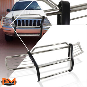 For 99 04 Jeep Grand Cherokee Wj Front Bumper Brush Grill Guard Protector Chrome
