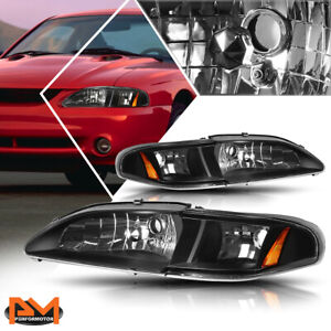 For 94 98 Ford Mustang Gt svt Headlight lamps Black Housing Amber Side Corner
