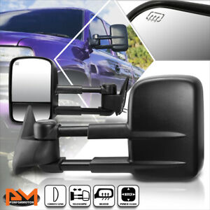 For 99 02 Chevy Silverado gmc Sierra Power heated Side View Towing Mirror Pair