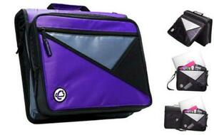Case it 1 5 inch 3 ring Zipper Binder With Removable Laptop Sleeve Purple Lt 2