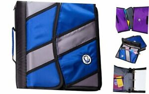 Case it Sidekick 2 inch O ring Zipper Binder With Removable Tab File Blue D 90