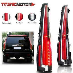 Pair Of Red Rear Lamp Led Tail Light Fits 07 14 Cadillac Escalade Esv 2016 Style
