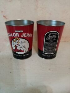Sailor Jerry Pin Up Spiced Rum Liquor Tin Can Cup Red set of 2 camping outdoor