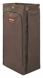 1966885 34 Gal Vinyl Bag For High Capacity Janitorial Cleaning Carts Brown