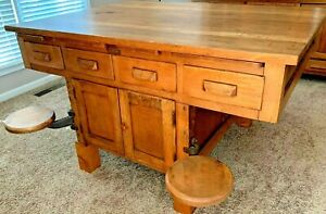 1920 S Vintage Industrial Swing Out Chemistry Lab Table Desk Kitchen Island