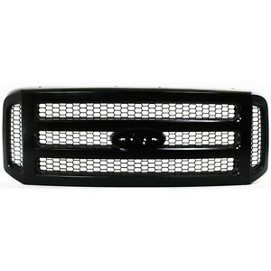 Grille For 2005 2007 Ford F 250 Super Duty F 350 Super Duty Black Plastic