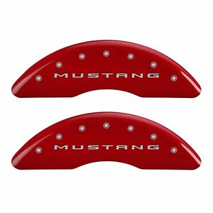 Mgp Caliper Covers Red Powder Coat Finish Silver 2016 Ford Mustang Ecoboost