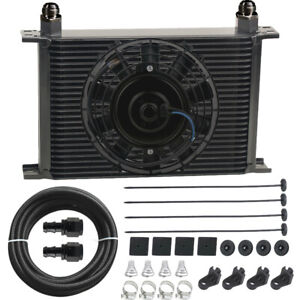 30 Row Stacked Performance Engine Transmission Oil Cooler 10an Electric Fan Kit