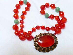 Vintage Chinese Natural Carnelian Carved Jade Bead Necklace Sterling Pendant