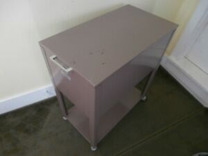 Vintage Oxford Metal Lift Top Filing Cabinet On Wheels