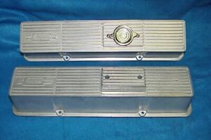 Vintage Pair Mr Gasket Aluminum Valve Covers Sbc Small Block Chevy 283 327 350