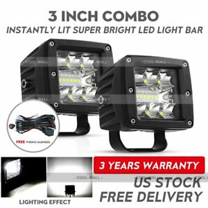 2x 3inch Cree Led Work Light Cube Pods Driving Spot Flood Offroad Bumper Wire